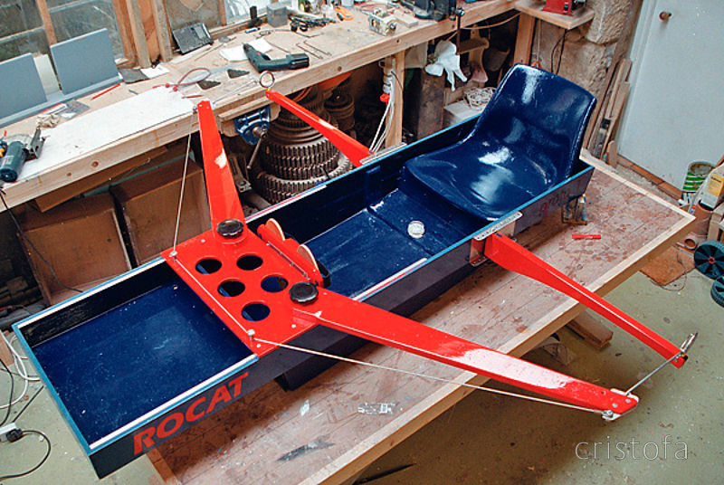 ROCAT proto-1's first seatdeck - to begin with the footbar runners were on the sides of the seatdeck,  but these were not str...