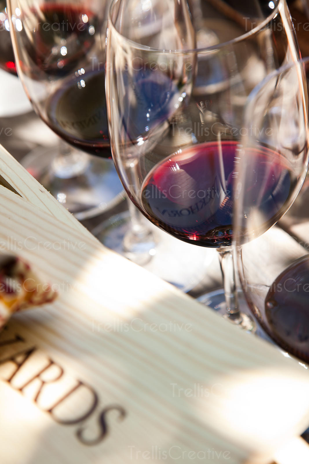 Glasses of red wine at a winery tasting event