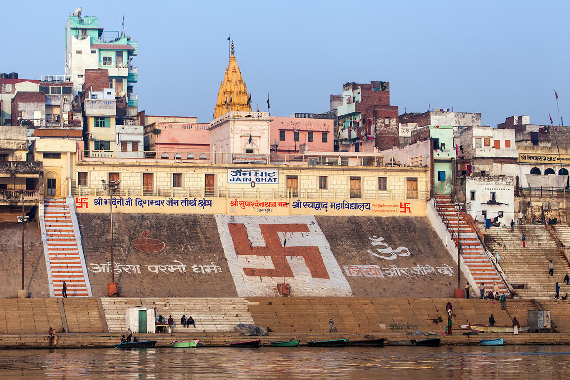 Large swastika on the steps of Jain Ghat, Varanasi, India.