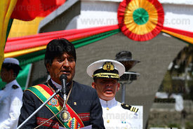 Bolivian president Evo Morales Ayma speaks to the nation during official events for Dia del Mar / Day of the Sea , Plaza Avar...