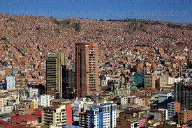 View across city centre to El Alto from Killi Killi viewpoint, La Paz , Bolivia