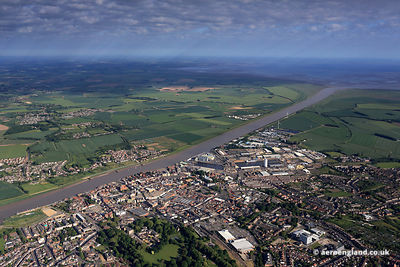 Panoramic aerial photograph of King's Lynn Norfolk England UK