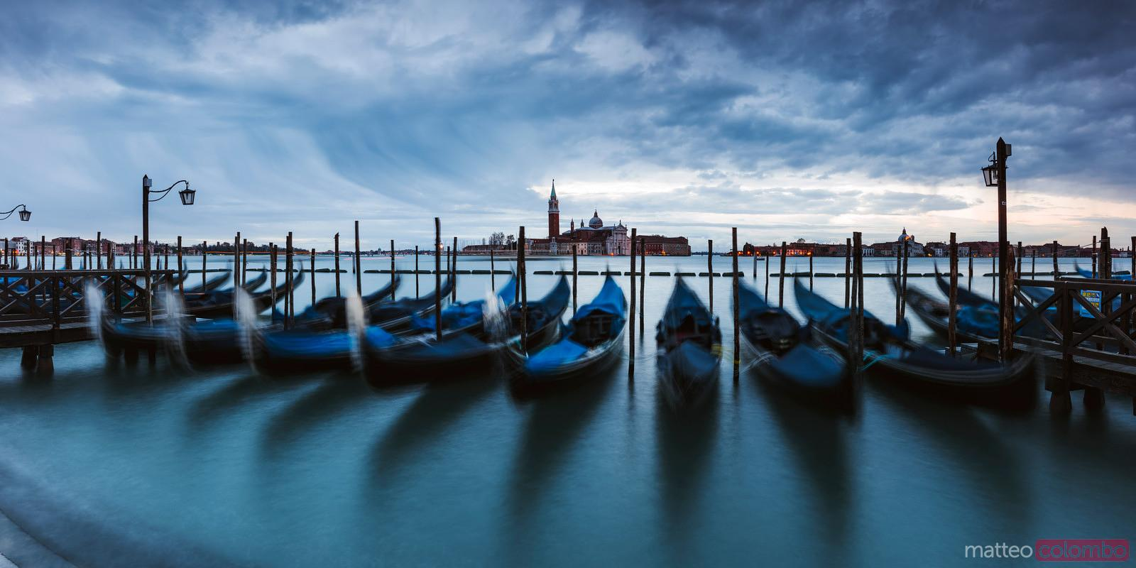 Panoramic of gondolas, Venice, Italy