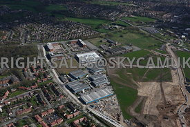 Manchester high level views of Ringway Trading  Estate Shadowmoss Road Manchester Airport Wythenshaw