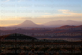 View over altiplano to Cariquima volcano at sunrise, Isluga National Park , Region I , Chile