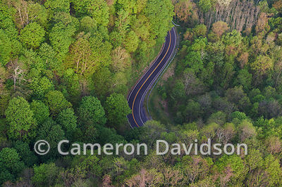Aerial photograph of the back of the dragon road