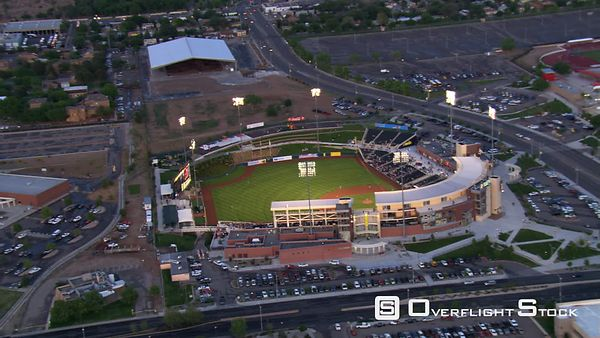 Orbiting Isotopes Stadium in Albuquerque before a night baseball game.