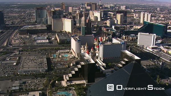 Leisurely flight up The Strip from the Luxor toward the Stratosphere in Las Vegas.