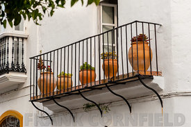 Pots on a balcony