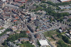 Stockport aerial photograph of the area surrounding the Robinsons Unicorn Brewery visitors centre Lower Hillgate