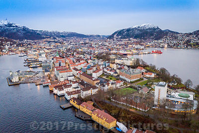 Aerial view of Nordnesparken in Bergen with Snow Capped Mountains in the Background - Stock photo Bergen