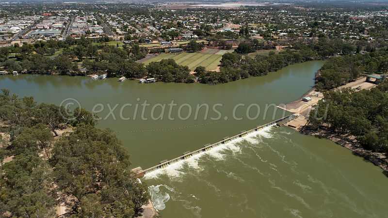 Low altitude aerial of weir on Murray River, Mildura, Australia.