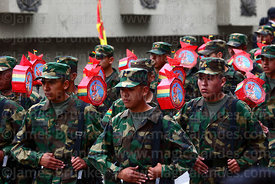 Members of the Bolivian army during military parades for Day of the Sea / Dia del Mar, La Paz, Bolivia