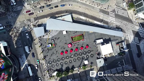 YongeDundas Square Drone Video DowntownToronto Ontario Canada