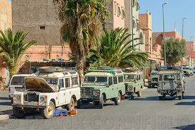 Land Rover cars in Guelmim, Morocco.
