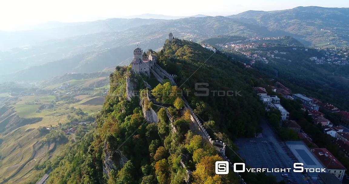 Mountain Fortress, Aerial View Over Cesta and Montale Castles, on a Sunny Autumn Day, at the Three Towers of San Marino