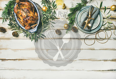 Christmas or New Year celebration table setting