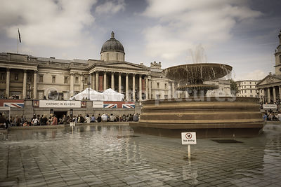 Trafalgar Square fountain where Revellers Stood on VE Day in 1945