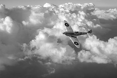 Soaring silver Spitfire cloudscape black and white version
