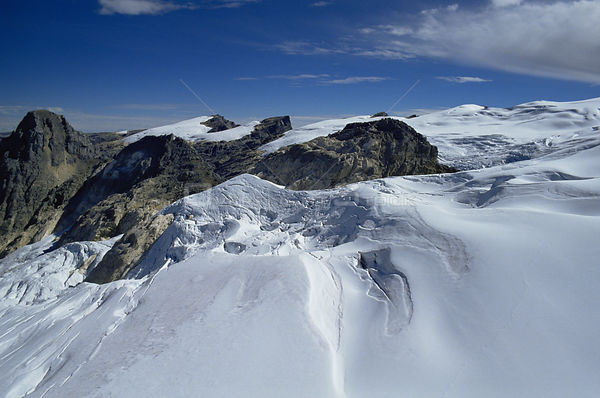 Aerial view of summit of Mount Jaya glaciers and snowfields, Irian Jaya / West Papua, Papua New Guinea 1991