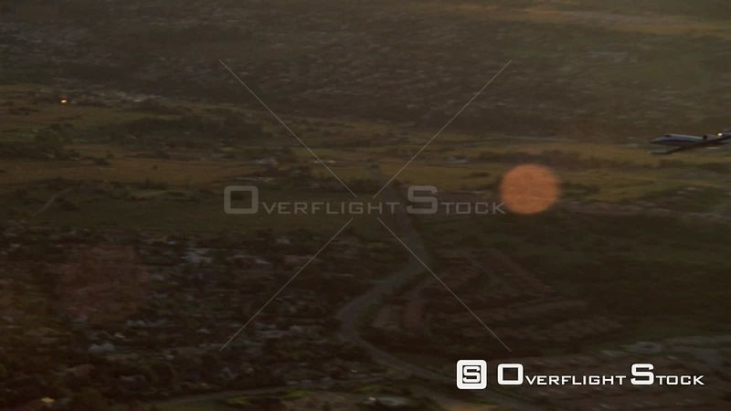 Aerial shot of a jet soaring in the sky Johannesburg Gauteng South Africa