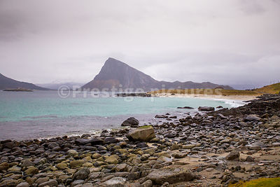 Haukland sandy beach in the south of the Lofoten Isalnds
