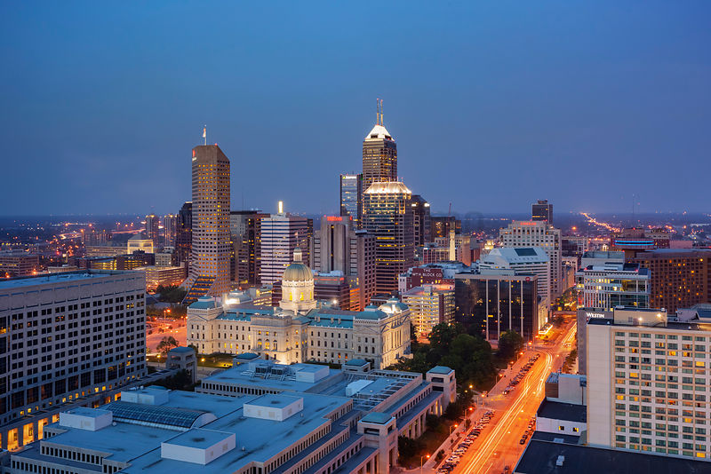 Elevated View of the Indianapolis Skyline at Dusk