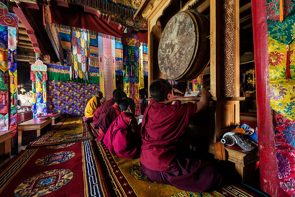 Monks Performing a Puja in Lamayuru Monastery
