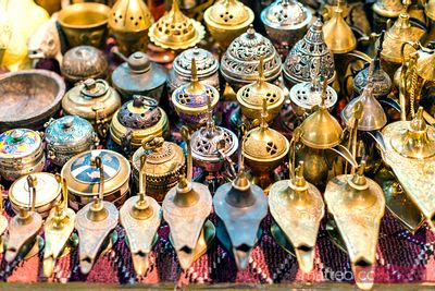 Oman, Muscat. Souvenirs for sale in the old souk of Mutrah