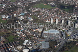 Rochdale aerial photograph of the Asda and the Mitchell Hey and Mellor Street and industrial area of Rochdale