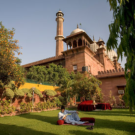 Syed Yahya Bukhari, President of the Jama Masjid Mosque relaxes on his lawn in his secluded garden