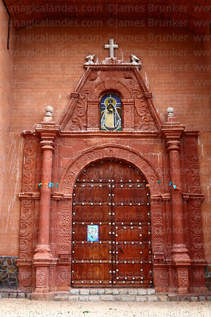 Main entrance of colonial church, Peñas, La Paz Department, Bolivia