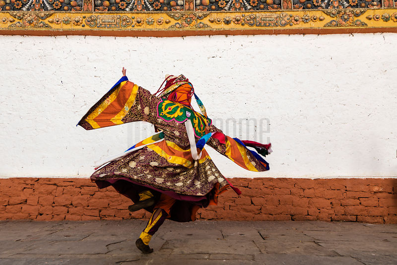 Performer Practising for the Punakha Tshechu Festival