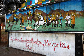 Painting showing indigenous leader Túpac Katari being quartered by the Spanish on monument in plaza, Peñas, La Paz Department, Bolivia