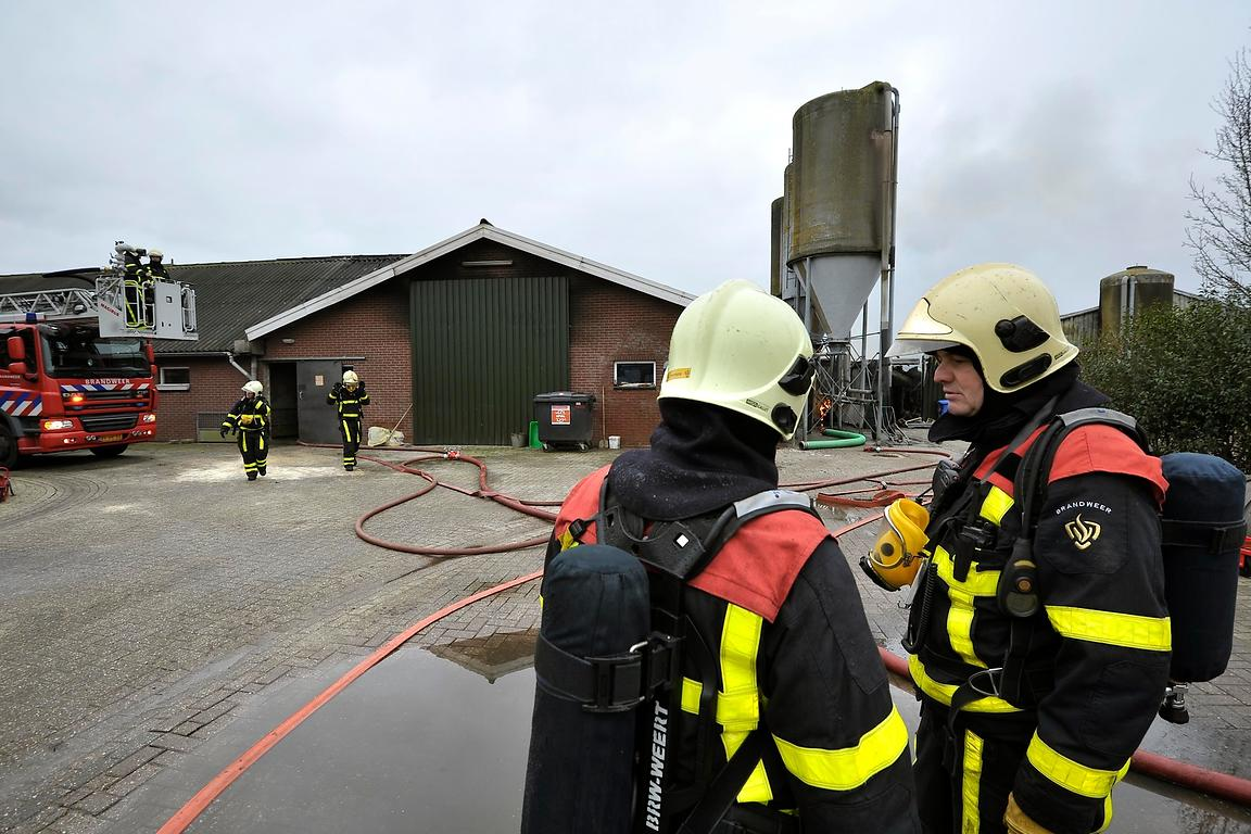 Brandweermannen bij varkensstal | Fire men at pig barn