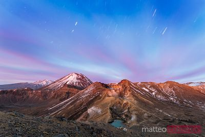 Ngauruhoe volcano and red crater at dawn, Tongariro, New Zealand