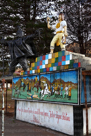 Monument to indigenous leader Túpac Katari in plaza, Peñas, La Paz Department, Bolivia