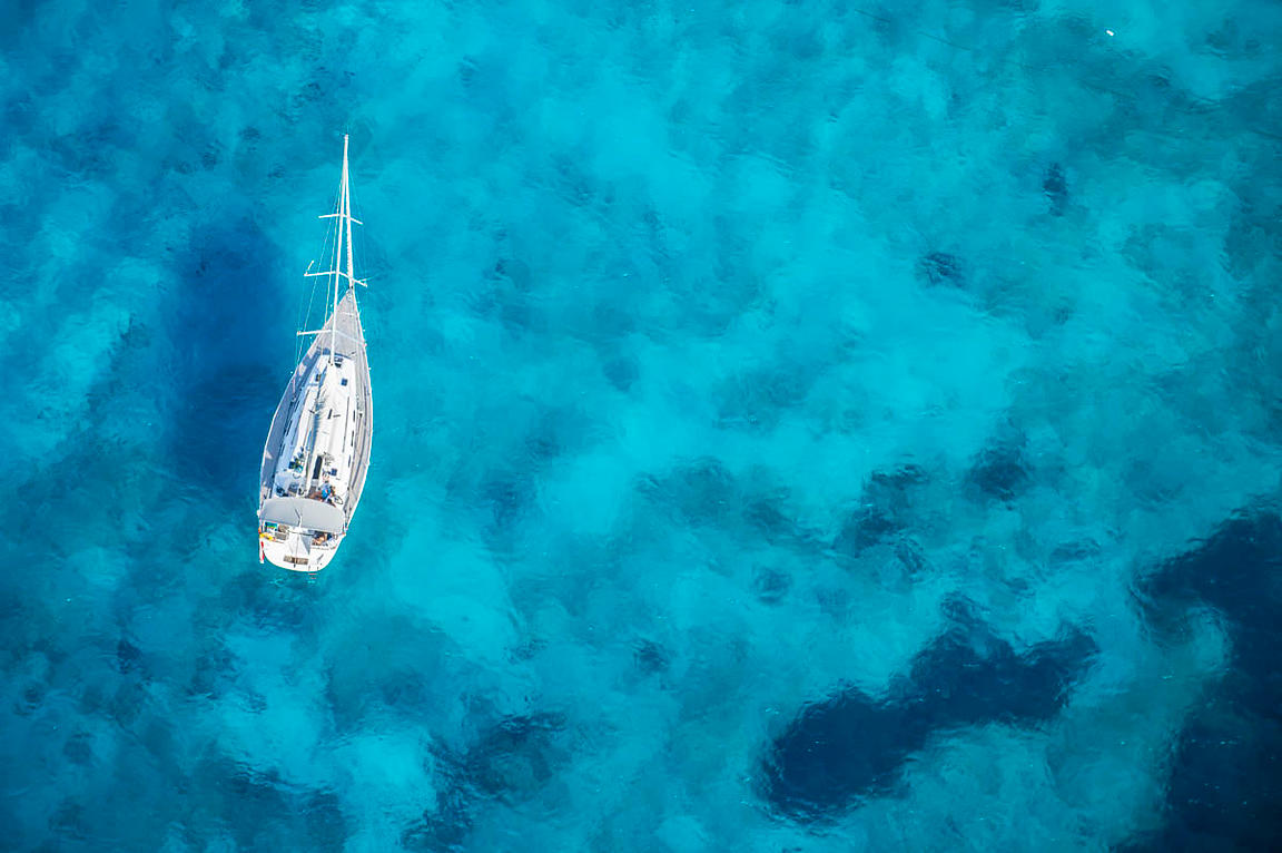 Aerial view of a boat off the coast of Malta
