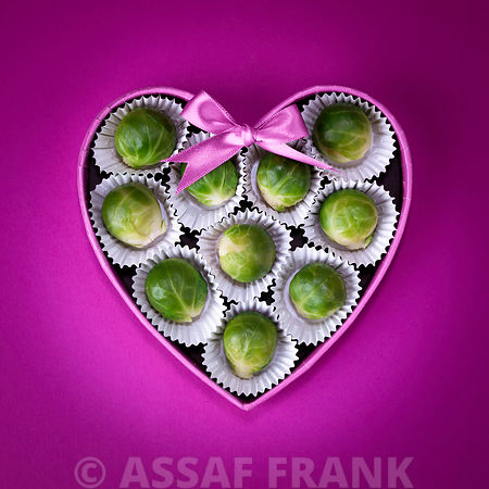 Brussel sprouts in a heart shaped chocolate box