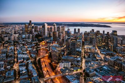 Aerial view of Seattle downtown skyline at dusk,  USA