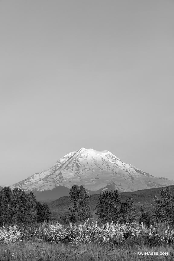 SUNSET MOUNT RAINER WASHINGTON BLACK AND WHITE VERTICAL