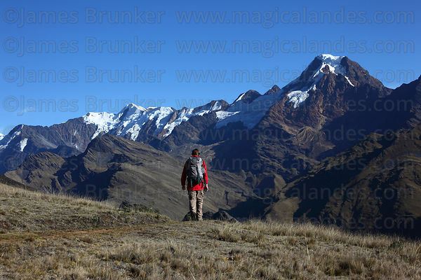 Trekking towards Mt Akamani on Curva to Pelechuco trek , Cordillera Apolobamba , Bolivia