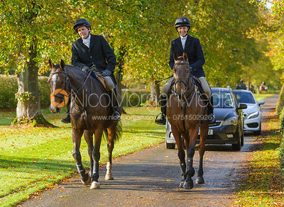 Roger Lee, Zoe Gibson arriving at the meet at Preston Lodge - Opening Meet 2016