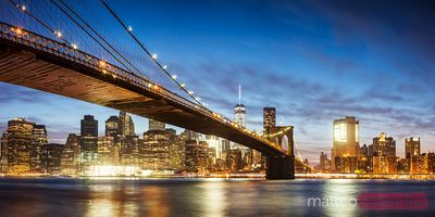 Brooklyn bridge panoramic at night, New York, USA
