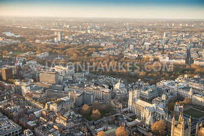 Aerial view of London, Westminster Abbey and Buckingham Palace.