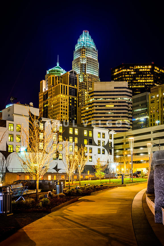 Downtown Charlotte Bearden Park at Night