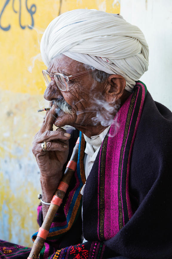 Man in a Turban Smoking a Cigarette