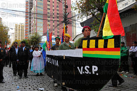 Civic group members dressed up as a boat during street parades for Dia del Mar / Day of the Sea , La Paz , Bolivia