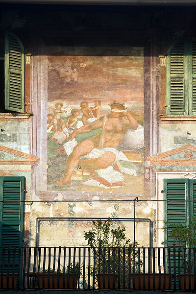 Italy - Verona - Frescos on the walls of a building in the Piazza delle Erbe