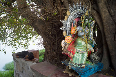 India - Chandannagar - A man sleeps on a shrine to the Goddess Durga on the banks of the Hooghley River